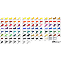 Golden Heavy Bodied Acrylic Hand Painted Colour Chart
